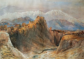 Charlotte Canning, Countess Canning - Watercolour by Lady Canning, of the Hill Fort of Kangra, Kangra Valley, Himachal Pradesh, 1860