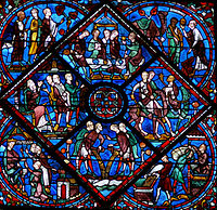 13th Century Window From Chartres Showing Extensive Use Of The Ubiquitous Cobalt Blue With Green And Purple Brown Gl Details Amber Borders