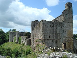 Castles in Great Britain and Ireland - The stone keep of Chepstow Castle in Wales, built in a Romanesque style
