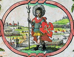 "Wessex - Imaginary depiction of Cerdic from John Speed's 1611 ""Saxon Heptarchy"""