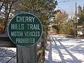 Cherry Hill Trail Motor Vehicles Prohibited sign.jpg