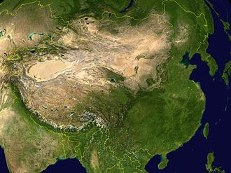 Eurasian Steppe - China and surrounding regions. Note the oval Tarim Basin, the dryer area separating Inner and Outer Mongolia and the projection of steppe into Manchuria