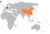 Lage von Deutschland und China