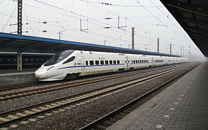 High-speed rail in China - A CRH5 train-set at Qinhuangdao Station, which is derived from the Alstom ETR600.
