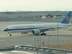 China Southern Boeing 777-200 at Kansai Airport in Osaka, Japan