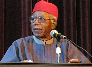 Chinua Achebe speaking at Asbury Hall, Buffalo...