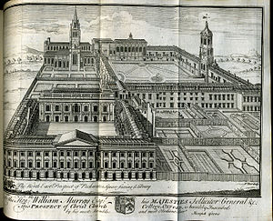 University of Oxford - An engraving of Christ Church, Oxford, 1742