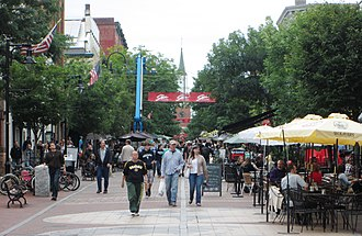 Church Street Marketplace - ...and looking north from Main Street, both in 2013