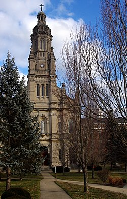 Church of the Immaculate Conception (Saint Mary-of-the-Woods, Indiana), exterior, front.jpg