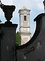 Church tower and Baroque gate detail, 2018 Majkpuszta.jpg
