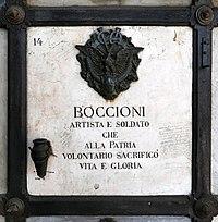 Cimitero monumentale di verona, tomba di umberto boccioni, 1916, 04.jpg