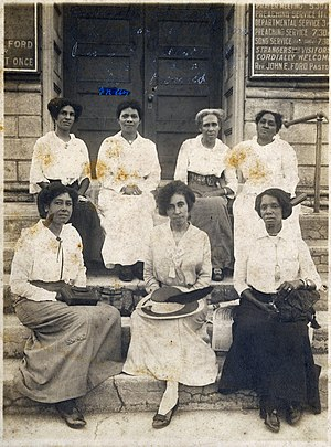 Woman's club movement - Eartha White (center, first row) is pictured with delegates at the State Meeting of the City Federation of Colored Women's Clubs of Jacksonville, at Palatka, Florida - May 16, 1915.