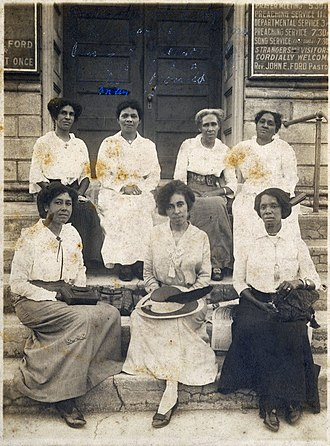 Woman's club movement - Eartha White (center, first row) is pictured with delegates at the State Meeting of the City Federation of Colored Women's Clubs of Jacksonville, at Palatka, Florida – May 16, 1915.