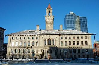 Worcester City Hall and Common - City Hall viewed from Worcester Common