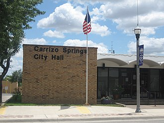 Carrizo Springs, Texas - City Hall in Carrizo Springs on U.S. Highway 277