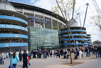 City of Manchester Stadium - Main entrance to Colin Bell Stand on west side of stadium