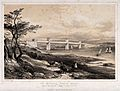 Civil engineering; the Menai box girder bridge. Lithograph b Wellcome V0024345.jpg
