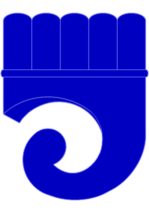 Clarion (heraldry) - Depiction of a heraldic clarion.