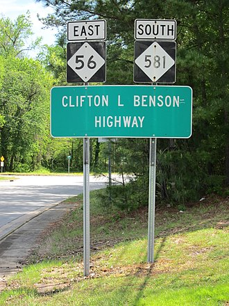 North Carolina Highway 581 - Clifton L. Benson Highway sign as seen along the NC 56/NC 581 concurrency