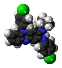 Space-filling model of the clofazimine molecule