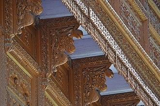 Bhimakali Temple - Intricate wood work on exterior of Bhimakali Temple