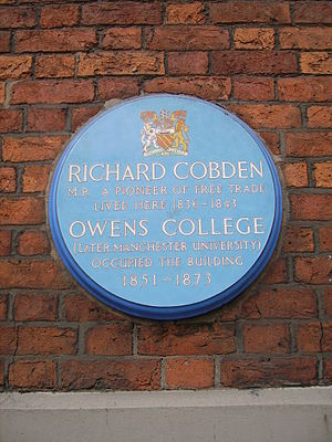 County Court, Manchester - Plaque commemorating Richard Cobden and Owens College