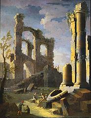 Capriccio avec ruines antiques et figures, crépuscule