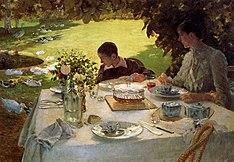 Colazione in giardino, olio su tela, Barletta, Pinacoteca De Nittis, 1883-1884