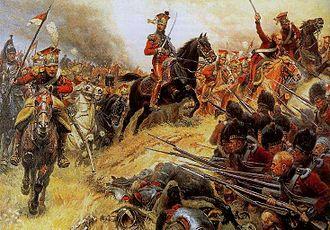 2e régiment de chevau-légers lanciers de la Garde Impériale - Col. Baron Pierre David de Colbert-Chabanais leading the Red Lancers at Waterloo.