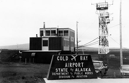The control tower at Cold Bay airport in August 1972. Cold Bay airport.jpg