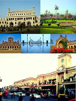 Clockwise from top: Bada Imambara, Charbagh Railway Station, Rumi Darwaza, Hazratganj, La Martiniere School, Ambedkar Memorial Park.