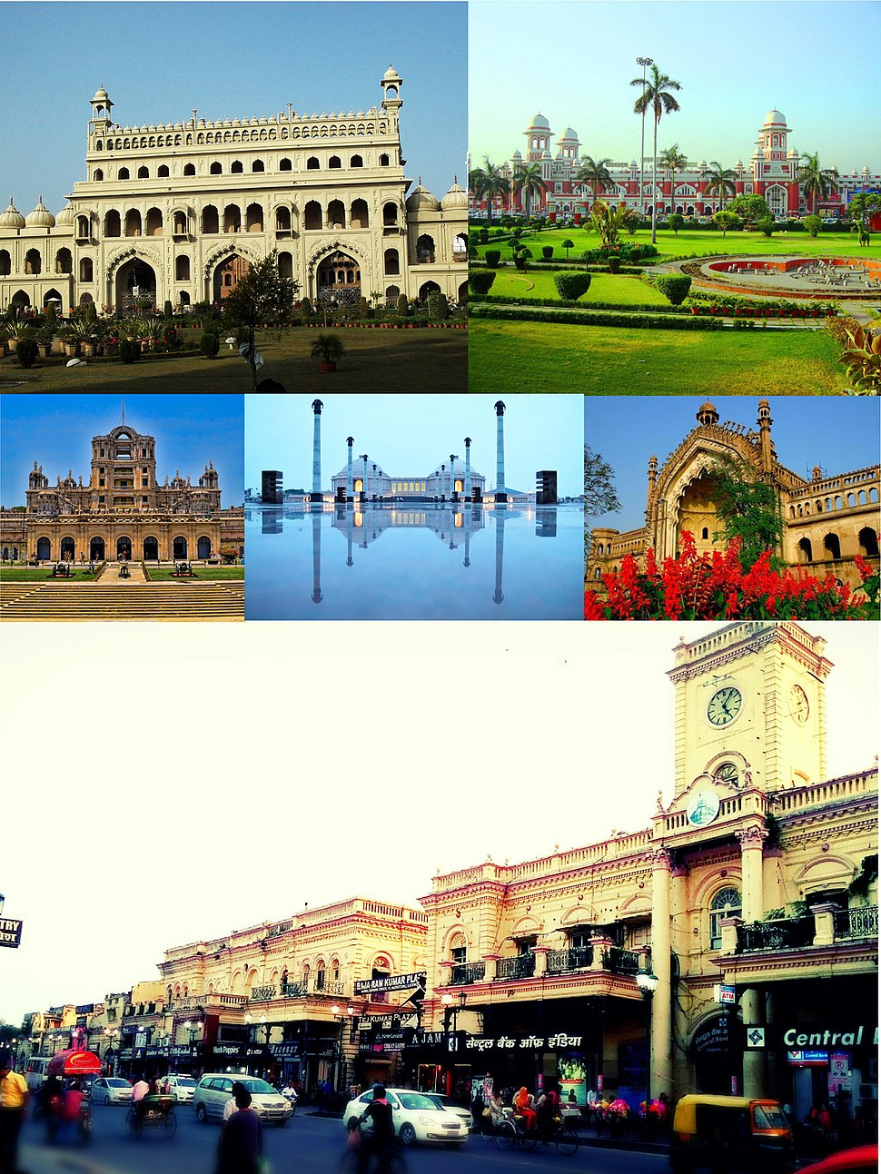 Clockwise from top: Bada Imambara, Charbagh Railway Station, Rumi Darwaza, Hazratganj, La Martiniere School, Ambedkar Memorial Park