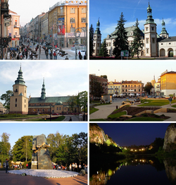 Collage of views of Kielce, Top left:Sienkiewicza Street, Top right:Kielce Bishops Palace, 2nd left:Kielce Cathedral, 2nd right:Artists Square, Bottom left:Monument of Home Homini, Bottom right:Night view of Kadzielnia nature reserve area