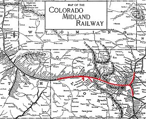 Utah Division (D&RGW) - Ca. 1900 map of the Colorado Midland Railway (red), showing its connections to the Rio Grande Western Railway (black, left) and Colorado and Southern Railway (black, lower right)