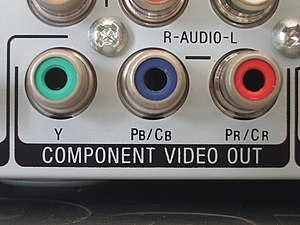 RCA connector - RCA sockets, or jacks, here used for YPbPr video output.