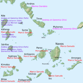 Andrea Ghisi - Repartition of the Aegean islands amongst the conquerors.
