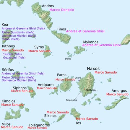 Χάρτης στον οποίο εικονίζεται η κατάληψη του Δουκάτου της Νάξου.