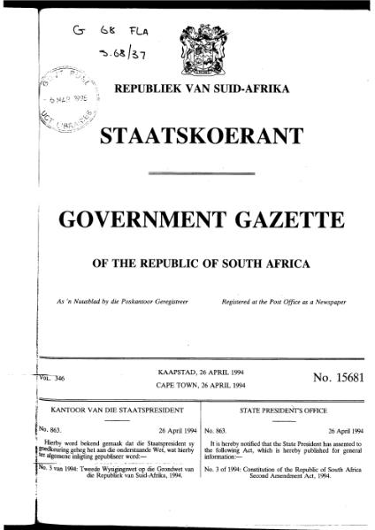 File:Constitution of the Republic of South Africa Second Amendment Act 1994 from Government Gazette.djvu
