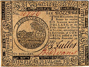 Continental Currency $6 banknote obverse (November 29, 1775).jpg