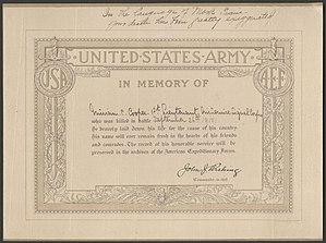 Merian C. Cooper - Death statement from when Cooper was presumed dead in 1918