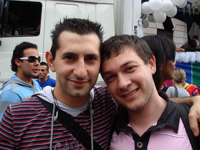 A couple at the local Gay Pride march in Milan...