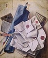 Cornelis Norbertus Gijsbrechts - Trompe l'oeil, a quodlibet with letters and a roll of blue paper.jpeg