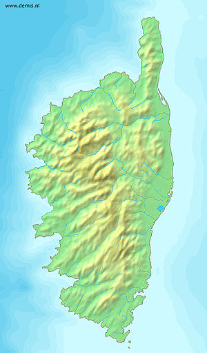 Relief map of Corsica.