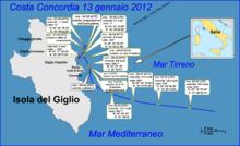 L'ultima rotta della Costa Concordia.