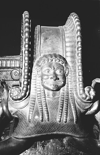 Gorgon - A Gorgon head on the outside of each of the Vix-krater's three handles, from the grave of the Celtic Lady of Vix, 510 BC