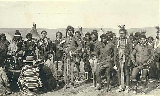 Cree Indian sun dancers, probably Montana, ca 1893 (LAROCHE 126)