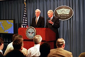 William W. Crouch - Retired Admiral Harold W. Gehman (left) and retired Army General William W. Crouch brief reporters on the report of the USS Cole Commission