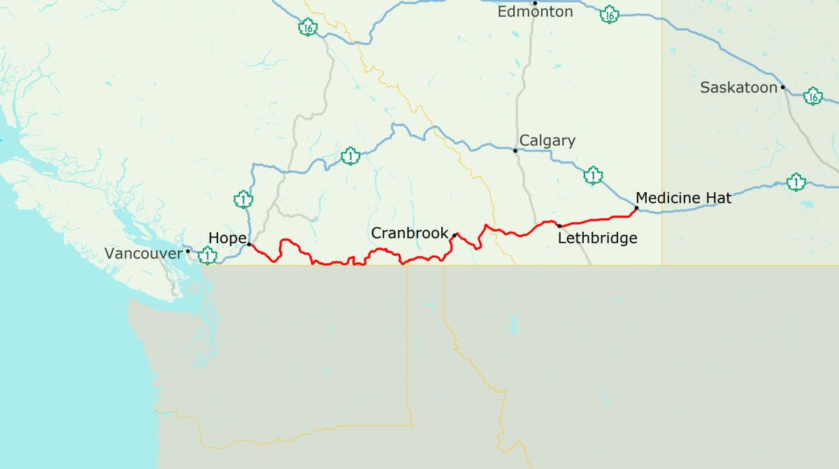 Hope Canada Map.Crowsnest Highway Wikipedia
