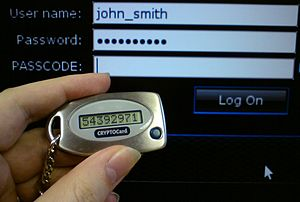 Security token - A disconnected token. The number must be copied into the PASSCODE field by hand.
