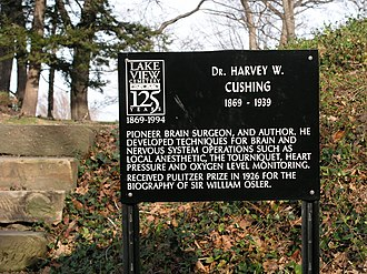 Harvey Cushing - Historical marker at Lake View Cemetery, Cleveland